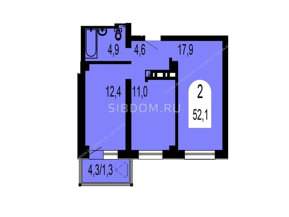 Планировки Жилой комплекс ТИХИЕ ЗОРИ, дом 1 (Красстрой) - Планировка двухкомнатной квартиры 52,1 кв.м