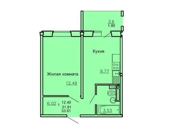 Планировка 1-комн 33,61 м²