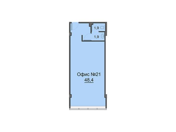 Планировки Жилой комплекс Офисно-деловой центр БИЗНЕС ПОРТ, SKY SEVEN - Третий этаж. Планировка офиса 48,4 кв.м
