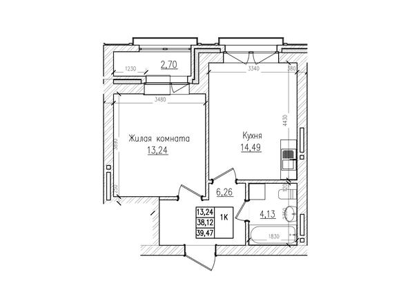 Планировки Жилой комплекс КРАСНЫЙ ПРОСПЕКТ, дом 2 - 1-комнатная 38,1 кв.м