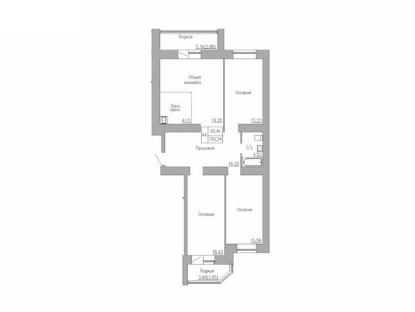 Планировка 4-комн 95,41, 100,24 м²