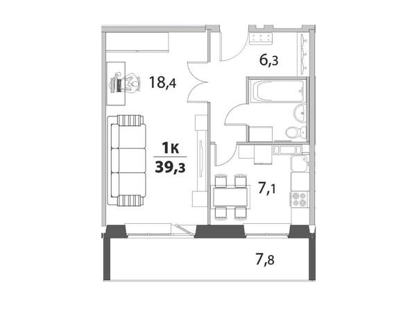 1-комнатная 39.3; 39.33 кв.м