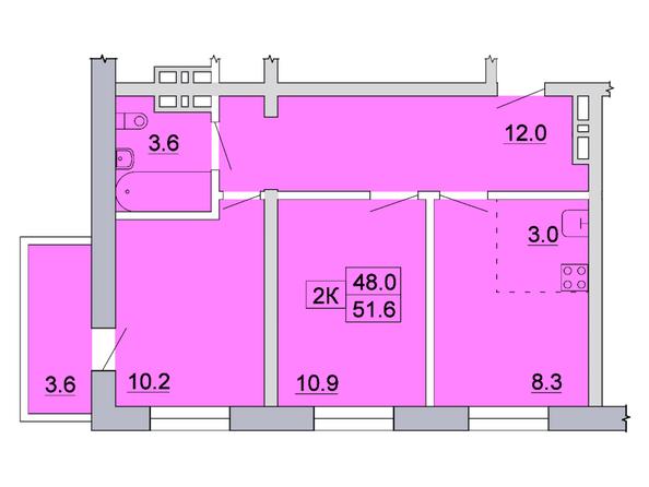 Планировка 2-комн 51,6, 51,8 м²