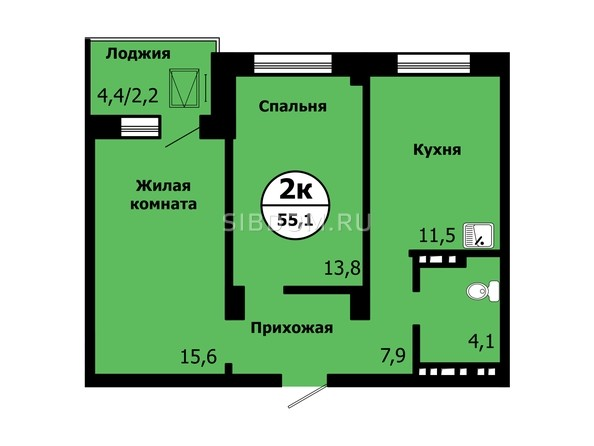 Планировка 2-комн 54,9, 55,1 м²