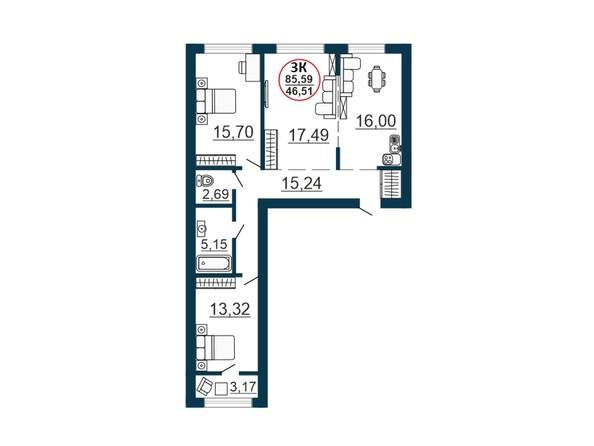 Планировка 3-комн 84,86, 85,59 м²
