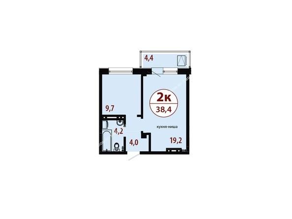 Планировки Жилой комплекс СЕРЕБРЯНЫЙ, квр 1, дом 1 - Секция 1. Планировка двухкомнатной квартиры 38,4 кв.м