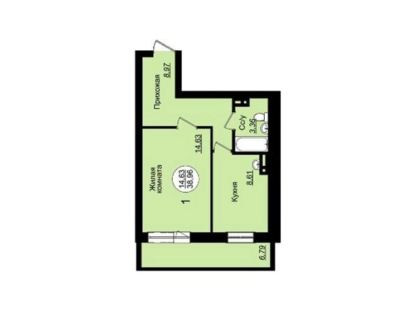 Планировки Жилой комплекс ГВАРДЕЙСКИЙ - Планировка однокомнатной квартиры 38,96 кв.м