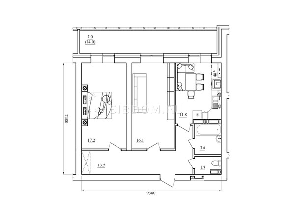 Планировка двухкомнатной квартиры 71,1 кв.м