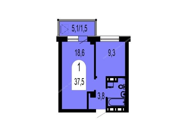 Планировки Жилой комплекс ТИХИЕ ЗОРИ, дом 1 (Красстрой) - Планировка однокомнатной квартиры 37,5 кв.м