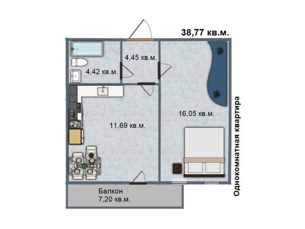Планировка 1-комн 38,21 - 38,77 м²