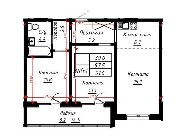 3-комнатная 61,6 кв.м