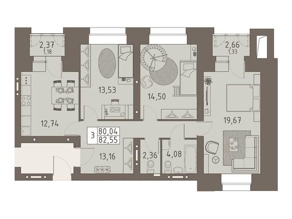 Планировки ВАВИЛОВСКИЙ ДВОРИК - 3-комнатная 82,55 кв.м