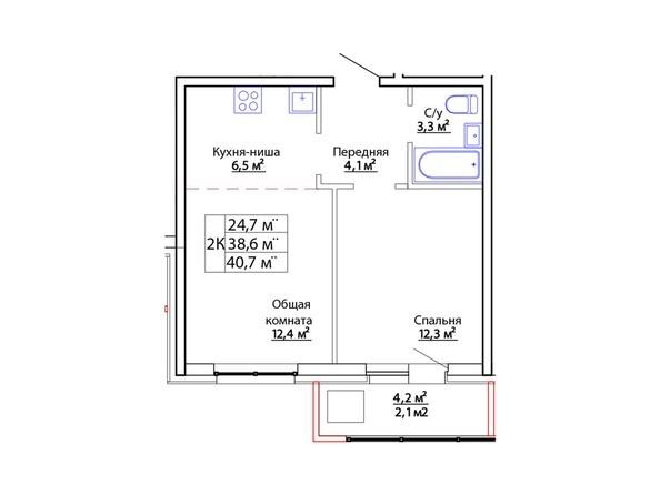 Планировки Жилой комплекс ЕВРОПЕЙСКИЙ - Планировка двухкомнатной квартиры 40,7 кв. м
