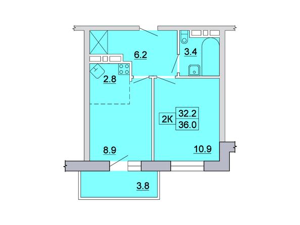 Планировка 2-комн 36, 36,2 м²