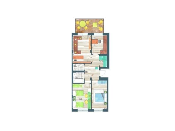Планировки Жилой комплекс ЖИВЁМ эко-район, 10 квартал, дом 1 - Планировка трехкомнатной квартиры 75,57 кв.м