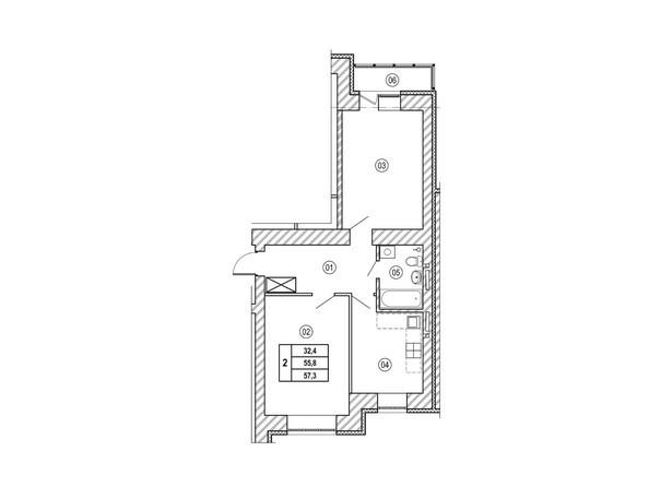 Планировки ВЕРХНИЙ БУЛЬВАР, дом 3, б/с «В», «Г» - Планировка двухкомнатной квартиры 57,3 кв.м