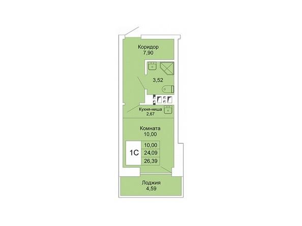 Планировки Жилой комплекс РАСЦВЕТАЙ НА МАРКСА, дом 1 - 1-комнатная студия 26,39 кв.м