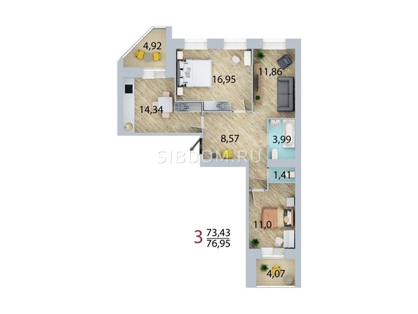 Планировка 3-комн 76,95 м²