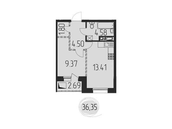 1-комнатная 36,35 кв.м