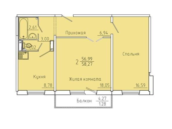Планировки Иннокентьевский, 3 мкр, дом 6 - Планировка двухкомнатной квартиры 58,27 кв.м