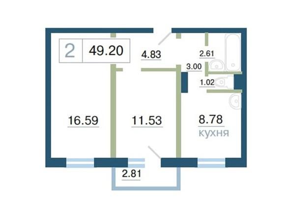 Планировка 2-комн 49,17, 49,2 м²