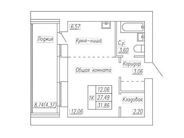Планировка 1-комн 31,86 м²