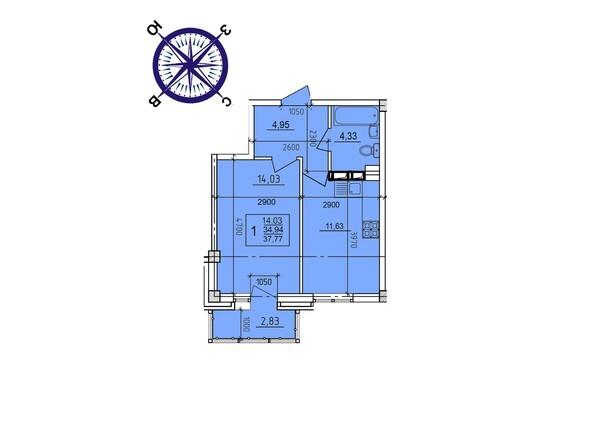 Планировки Жилой комплекс ИРКУТСКИЙ ДВОРИК-2,  б/с 1-3 - Планировка однокомнатной квартиры 37,77 кв.м