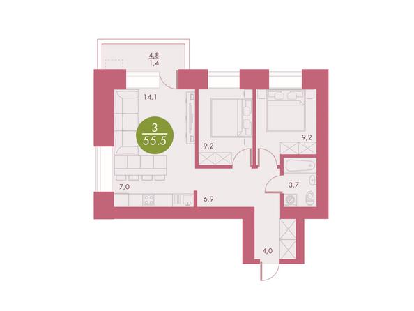 Планировки Жилой комплекс Арбан SMART (Смарт) на Шахтеров, д 2 - Планировка трехкомнатной квартиры 55,5 кв.м