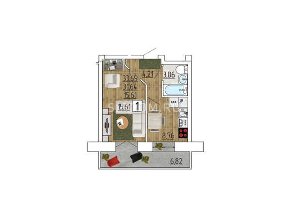 Планировка 1-комн 33,69 м²