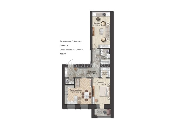 Планировка 3-комн 125,14 м²