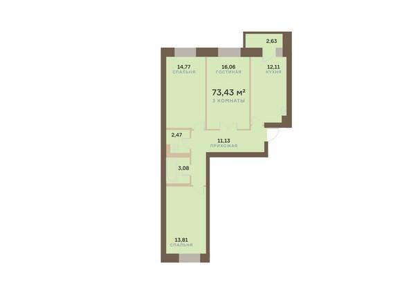 Планировки Жилой комплекс АЛЕКСАНДРОВСКИЙ, дом 1 - 3-комнатная 77,43 кв.м