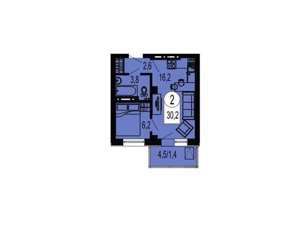 Планировка двухкомнатной квартиры 30,2 кв.м