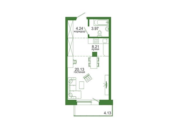 1-комнатная 40,68 кв.м
