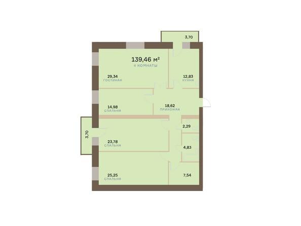 Планировки Жилой комплекс ЮЖНЫЙ БЕРЕГ, дом 17 - Планировка четырехкомнатной квартиры 141,68 кв.м