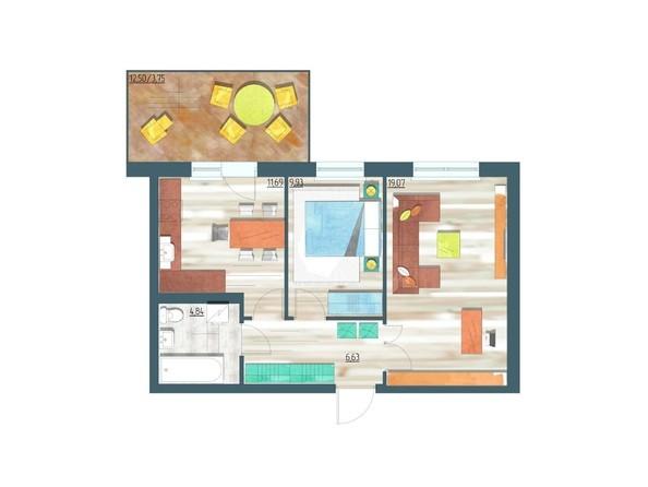 Планировки Жилой комплекс ЖИВЁМ эко-район, 3 квартал, дом 1 - Планировка двухкомнатной квартиры 55,91 кв.м