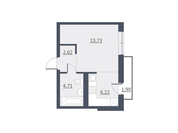 Планировки Жилой комплекс ДУНАЕВСКИЙ, дом 3 - Планировка однокомнатной квартиры 27,42 кв.м