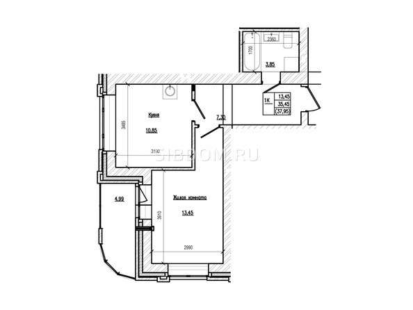 Планировка 1-комн 37,95 м²