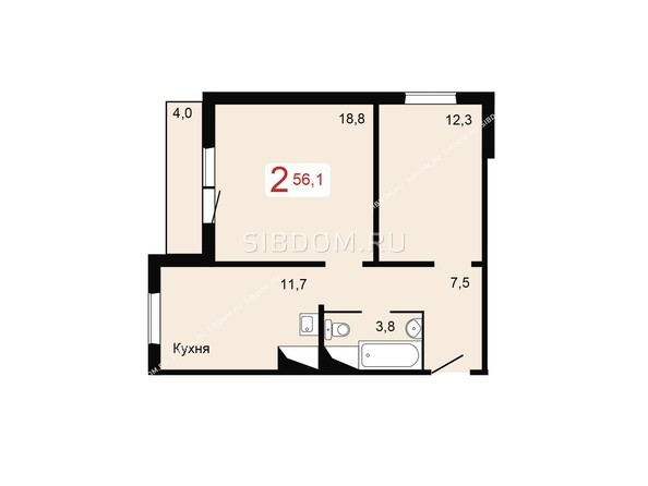 Планировки Жилой комплекс НОВОНИКОЛАЕВСКИЙ, дом 2, стр 1 - Планировка двухкомнатной квартиры 56,1 кв.м