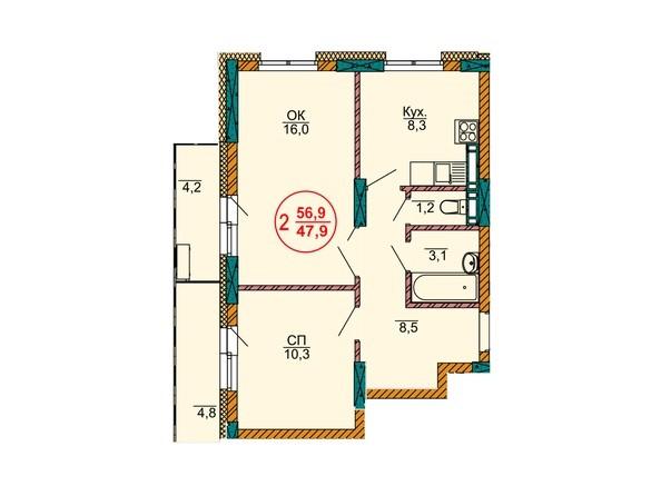 2-комнатная 56.9 кв.м