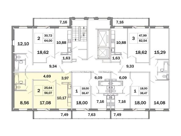 Планировка двухкомнатной квартиры 59,07 кв.м