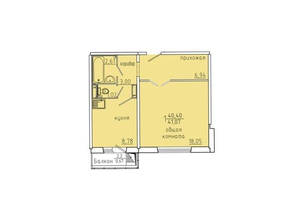 Планировки Жилой комплекс Иннокентьевский, 3 мкр, дом 6 - Планировка однокомнатной квартиры 41,07 кв.м