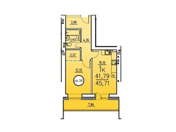 1-комнатная 45.71 кв.м