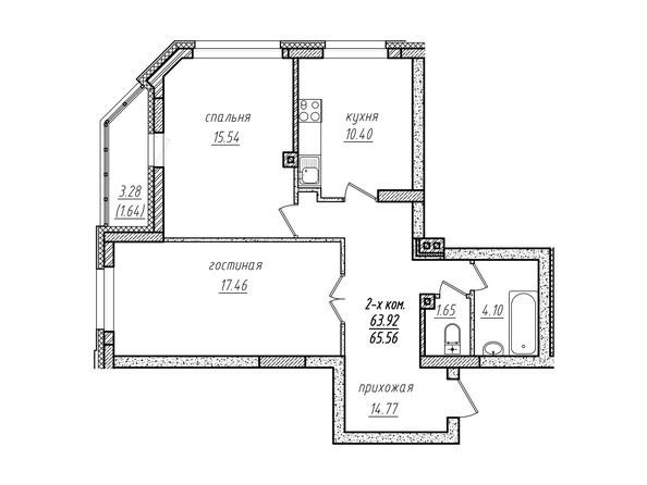 2-комнатная 65.56 кв.м