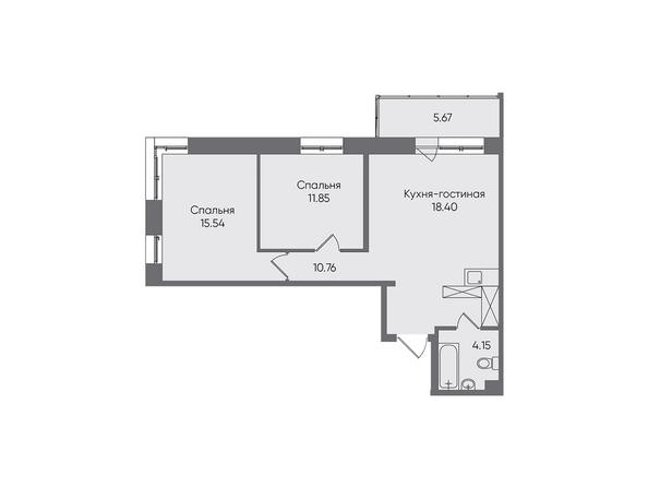 Планировки Жилой комплекс НОВЫЕ ГОРИЗОНТЫ, б/с 1 - Планировка трехкомнатной квартиры 66,37 кв.м