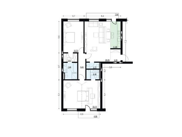 Планировки Жилой комплекс ЖУКОВКА, б/с 7,8 - Планировка трехкомнатной квартиры 121,16 кв.м