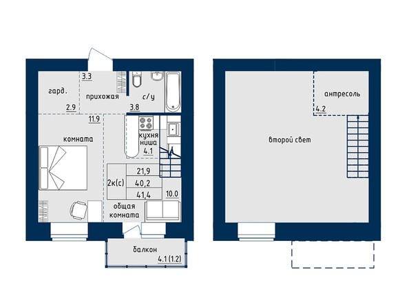 2-комнатная 41.4 кв.м