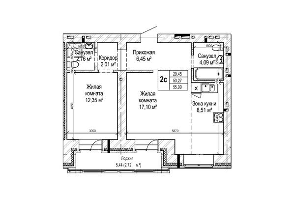 Планировки Жилой комплекс ГРИНАРТ, дом 5 - Планировка двухкомнатной квартиры 55,99 кв.м.