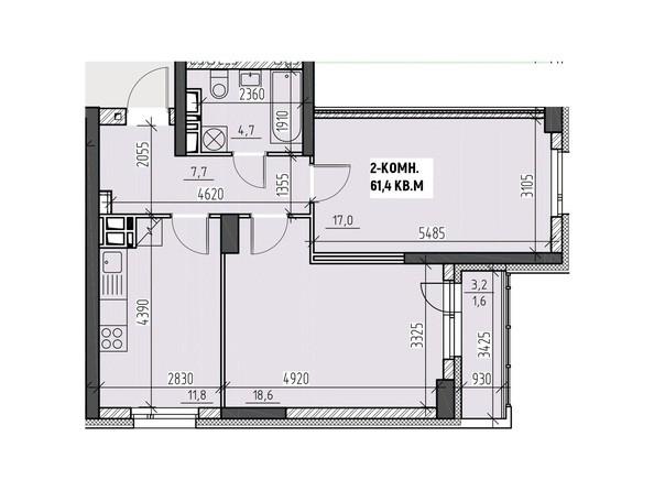 Планировки Жилой комплекс НА ВЫСОТЕ, 2 этап - Планировка двухкомнатной квартиры 61,4 кв.м