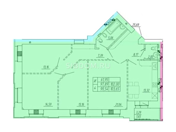 Планировка 4-комн 97,89 - 103,65 м²