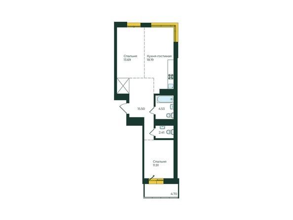 2-комнатная 70,93 кв.м